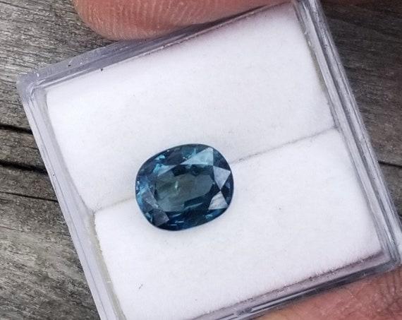 Peacock Blue Green Sapphire 7.9x6.6MM Cushion