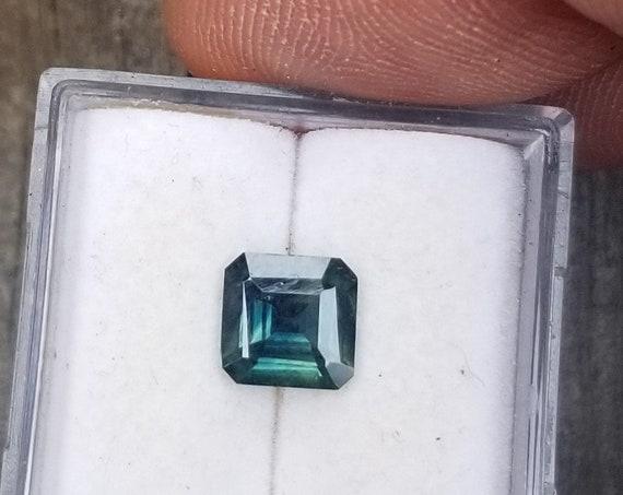 Square 6 MM Ceylon Blue Green Sapphire