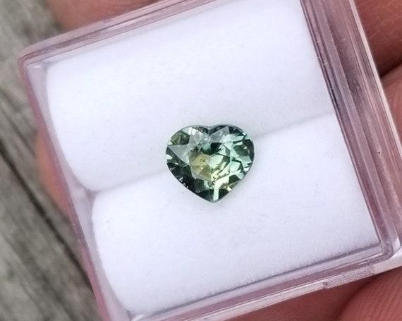Ceylon Heart Shape Blue Green Multi Color Sapphire 1.05 Cts