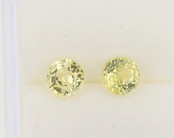 Canary Sapphire 5 MM Round for Earrings