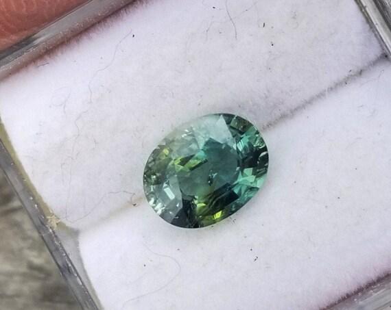 Unique Teal Sapphire Parti Color 1.30 Carats Oval