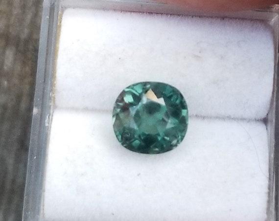 Blue Green Sapphire 2 Carats Cushion Precision Cut