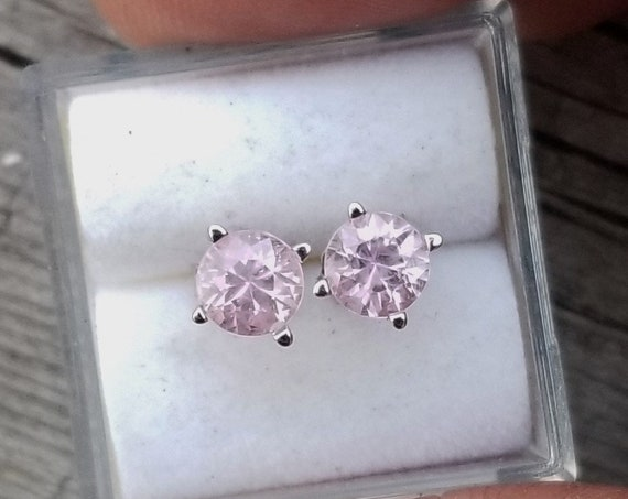 Natural Pink Sapphire 5 MM Round Earrings 14k White Gold