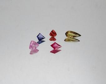 12pc Natural multi Sapphire Rosecut uneven shape sapphire yellow orange pink green blue sapphire purple sapphire uneven shape multy sapphire
