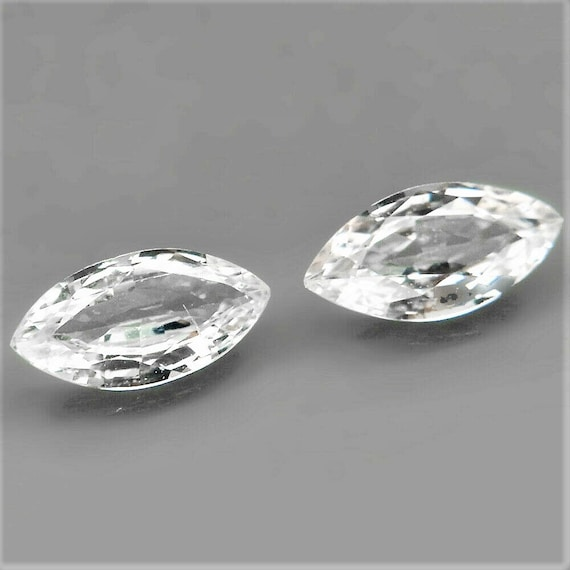 Natural White Sapphire Pair 8x4.1MM Marquise for Earrings