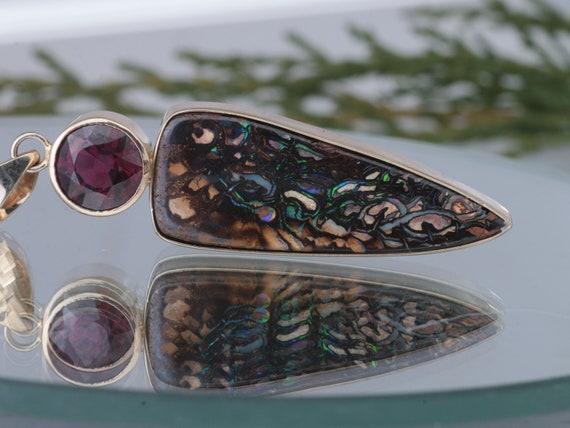 Handmade Australian Matrix Opal and Rhodolite Garnet Pendant