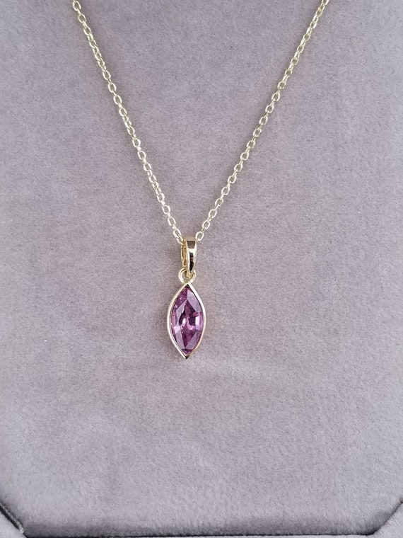 Marquise Pink Purple Sapphire 14k Gold Necklace