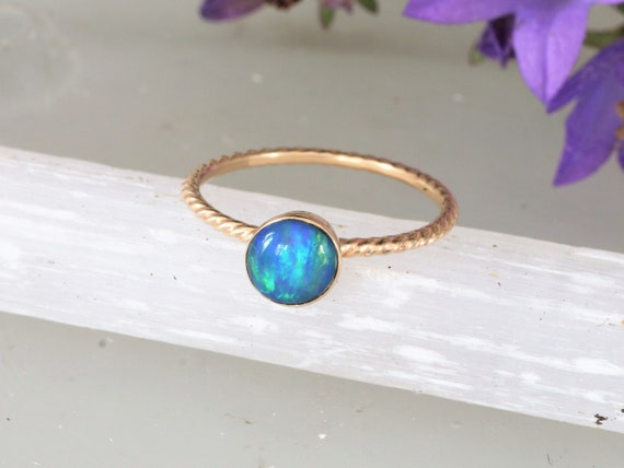 Opal Skinny Rope Stacking Ring in 14k Gold