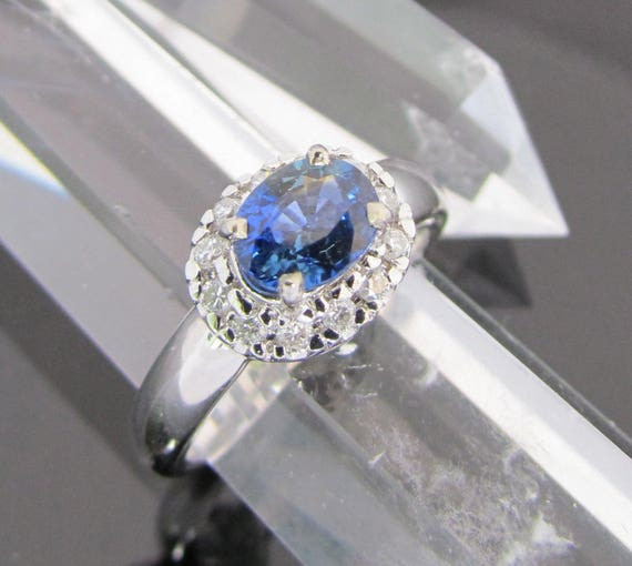 1.25ct Blue Sapphire Diamond Halo Ring
