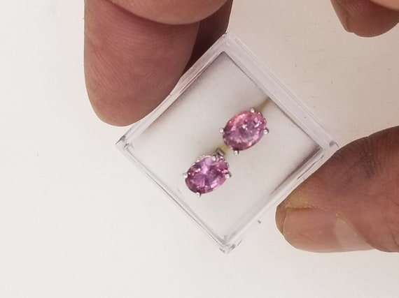 Pink Sapphire 7x5MM Oval Earrings September Birthstone