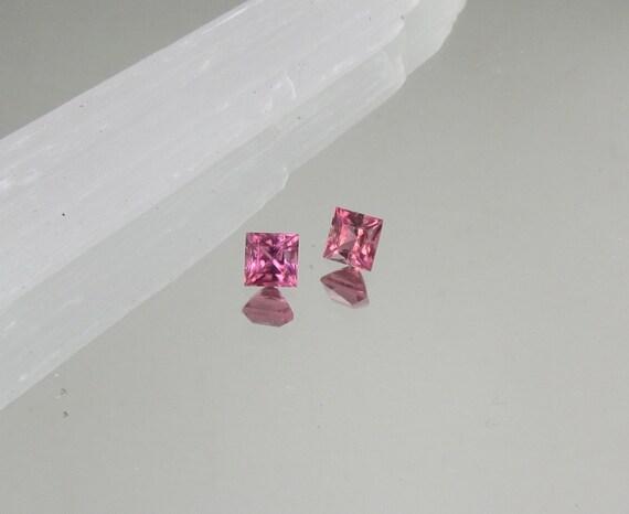 Pink Tourmaline Pair 2.05cts tw Princess Cut