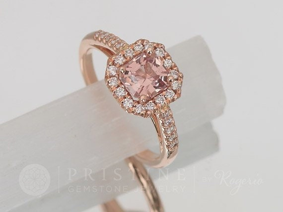 Radiant Cut Peach Spinel Rose Gold Engagement Ring