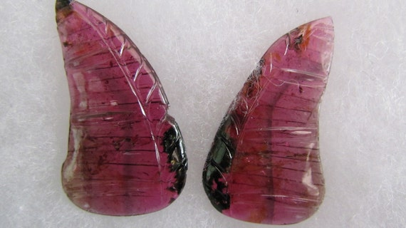 Watermelon Pink Tourmaline Butterfly Wing Carving