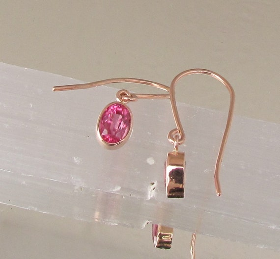 Pink Sapphire Rose Gold Dangle Earrings made by hand