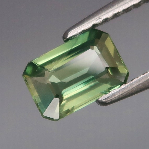 Natural Green Sapphire Emerald Cut September Birthstone