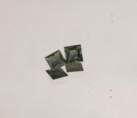 Princess Cut Blue Green Sapphire Pair 5 MM for Earrings