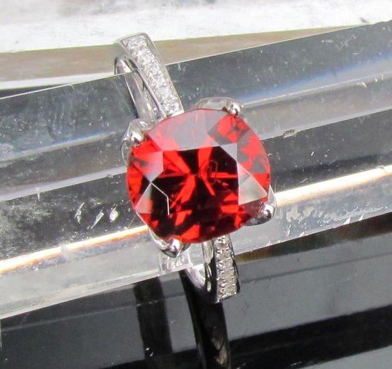 Cushion Spessartite Garnet Diamond Accented Ring