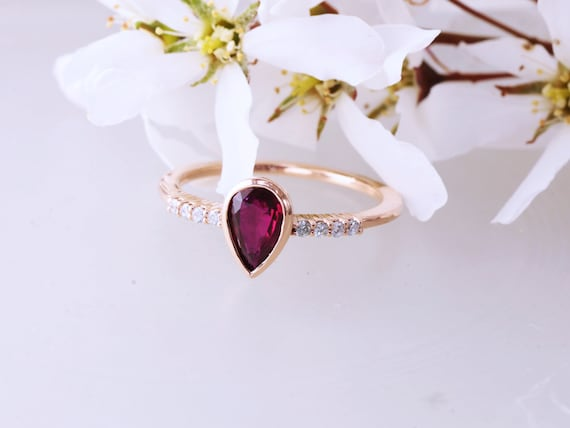 Pear Shape Ruby 14k Rose Gold Diamond Accented Ring