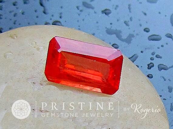 Orange Sapphire Emerald Cut 7.53cts