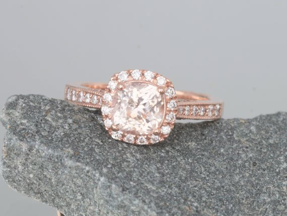 Cushion Champagne Sapphire Rose Gold Ring