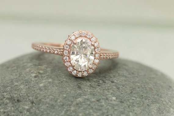 SALE Charles and Colvard Moissanite Rose Gold Engagement Ring