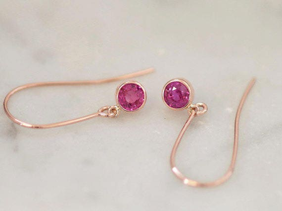 Pink Sapphire Rose Gold Dangle Earrings