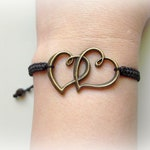Antique Bronze Double Heart Bracelet, Macrame Bracelet, Adjustable Bracelet, Love Bracelet, Braided Bracelet