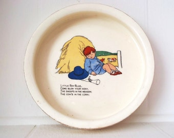 Antique Ceramic Baby Bowl Dish Little Boy Blue Signed L. Hocknell Early 20th Century Nursery Rhyme Tableware for Children