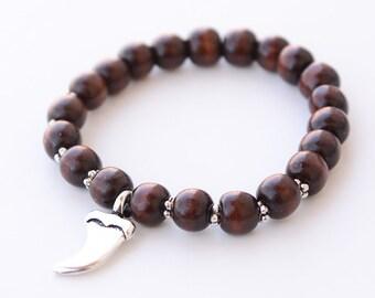 Mens Wood Beaded Bracelet Silver Claw Bracelet Mens Stretch bracelet Mens Jewelry Mens Beaded Bracelet Mens gift Bracelets For Men