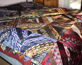Queen Size Neck tie memory quilt, custom made