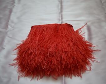 14 yards Ostrich Feather Fringe trim 10-15 cm (4-6 inch), red