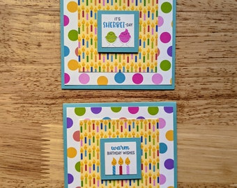 Birthday Cards, Set of 2, Smiling Candles, Sherbet, Dessert, Sweets, Polka Dots