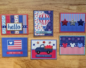 Americana Year Around Greeting Cards, Set of 6, Patriotic, Mickey Mouse, Fireworks, Stars, Stripes, Flag, Truck, Balloon, Red, White, Blue