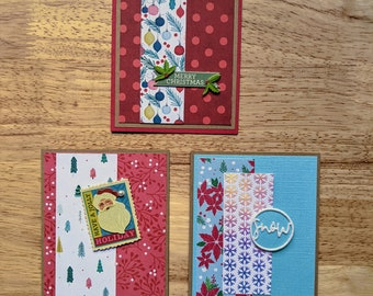 Christmas Cards, Set of 3, Merry Christmas, Snow, Have a Jolly Holiday, Ornaments, Holly, Poinsettia, Trees