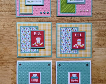 Get Well Cards, Set of 6, Square, Bring a Smile to Someone, Sneeze The Day, Pill Better Soon, I Herb You Were Sick