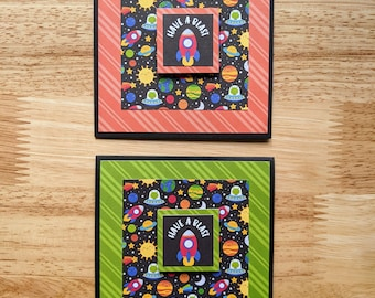 Have a Blast!, Set of 2 cards, Blank, Square, Space, Encouragement, Well Wishes, Rocket, Planets