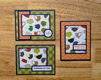 Pandemic Thinking of You, Hello, Sending Hugs Cards, Set of Three, Facemasks