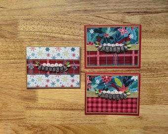 Happy Holidays, Set of 3 cards, Holly, Snowflakes, Ribbon, Plaid, Poinsettia