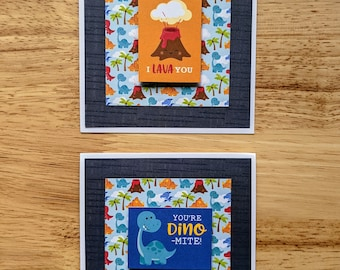 You're Dino-mite and I Lava You, Set of 2, Square Cards, Love, Encouragement, Gratitude, Appreciation
