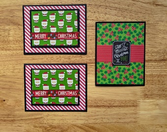 Merry Christmas, Set of 3 cards, All I want for Christmas is You, Santa, Holly, Lights, Ribbon, Candy Cane Stripes