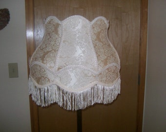 Victorian Champagne Lamp Shade for Big Floor Lamp w/French Fringe