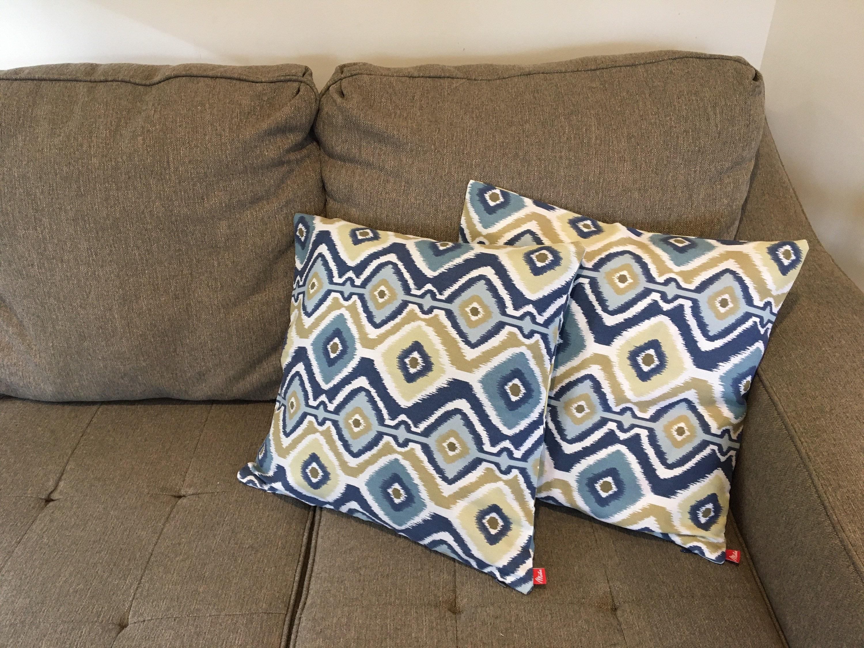 modern throw pillow ikat 100 cotton canvas bring life to