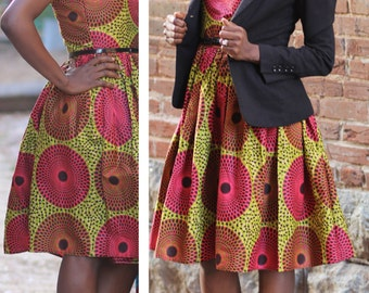 Rasberry Podot~Quistt Elegant Dress; African clothing, ankara dress, African Ankara; African Skirt;  African Print Dress; ankara