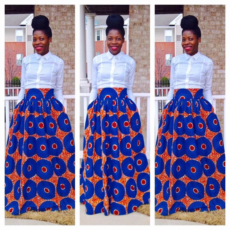 89578edd27 Sky Blue African Ankara Maxi; African clothing; African Maxi skirt; African  dresses for women; African clothing for women; Ankara; African