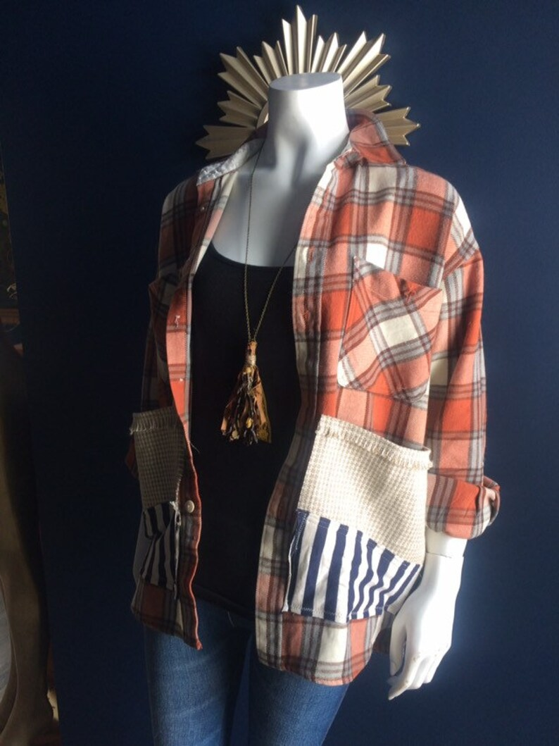 Boho Chic Up cycled Flannel-Repurposed Long Sleeve Shirt