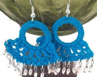 Crochet Earrings, Shell Earrings, Lace Earrings, Dangle Earrings, Summer Earrings, Turquoise Earrings, Blue Earrings, Crochet Dangle