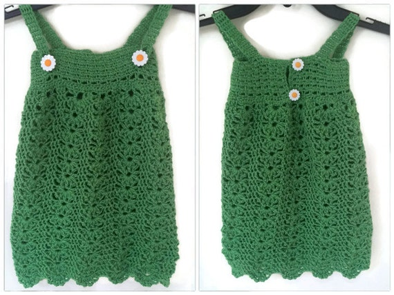 Häkeln Sie Babykleid Häkeln Sie Sommer Kleid Grüne Häkeln Etsy