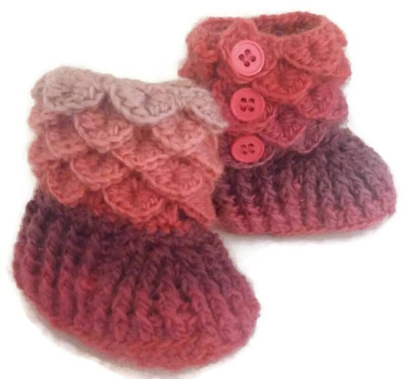 96fd8f9336c Crochet Dragon Scale Baby Booties 0-3 Months Newborn Baby