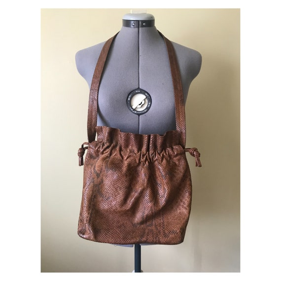 Embossed Snakeskin Leather Drawstring Purse