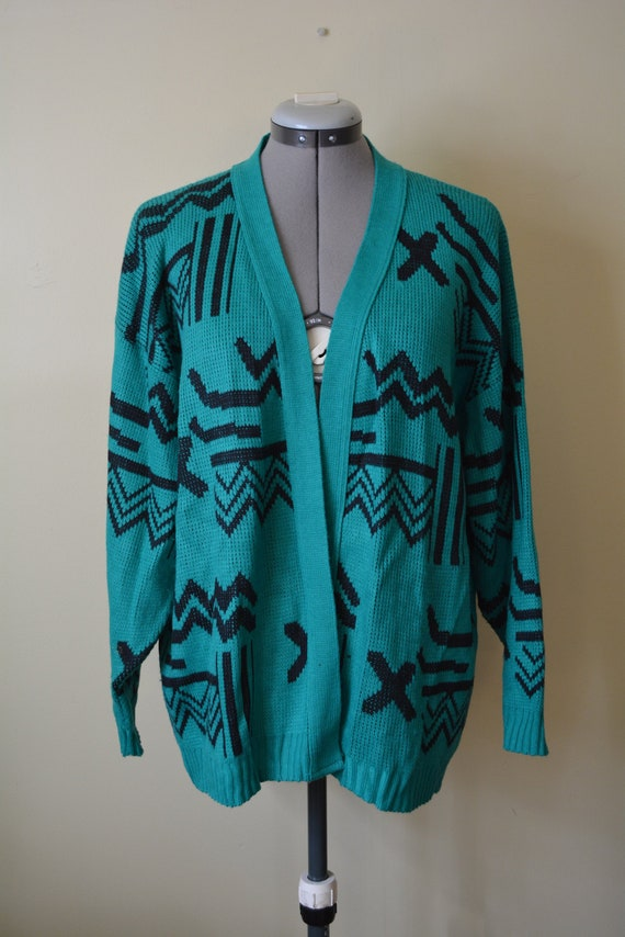 Green Cocoon Style Cardigan Sweater